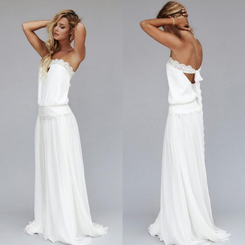 2015 Vintage Dresses 1920s Beach Wedding Dress Cheap Dropped Waist Bohemian Strapless Backless