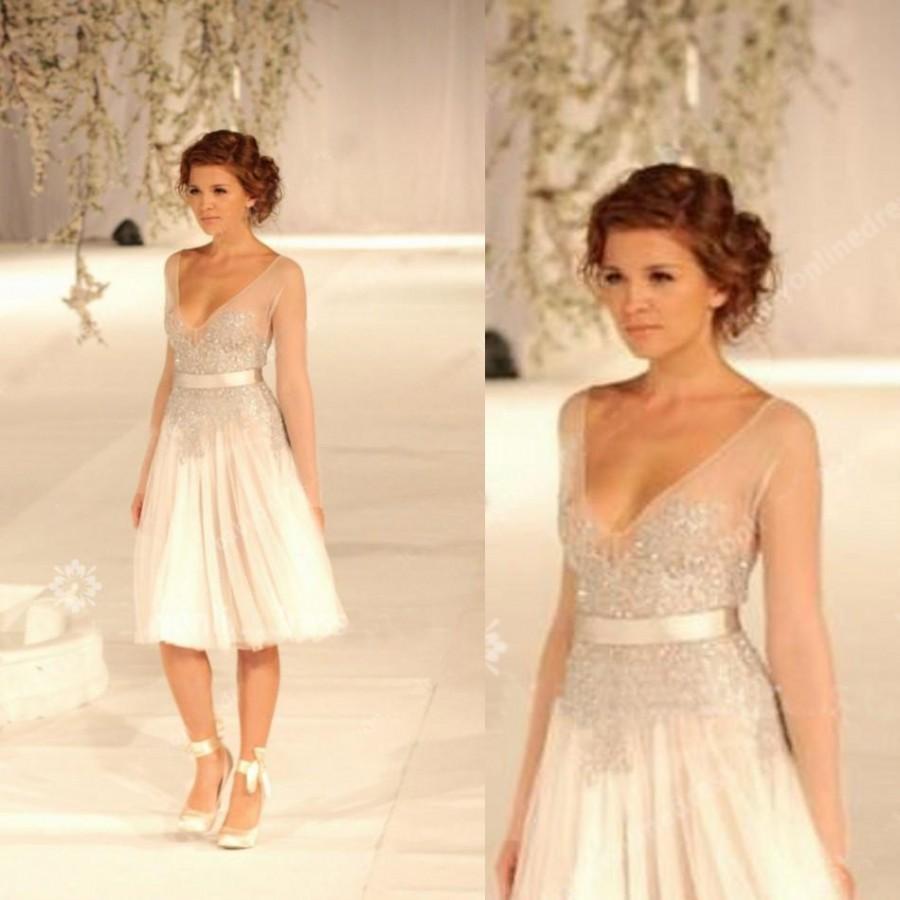 Paolo sebastian sheer lace v neck a line knee length beach for Knee length beach wedding dresses