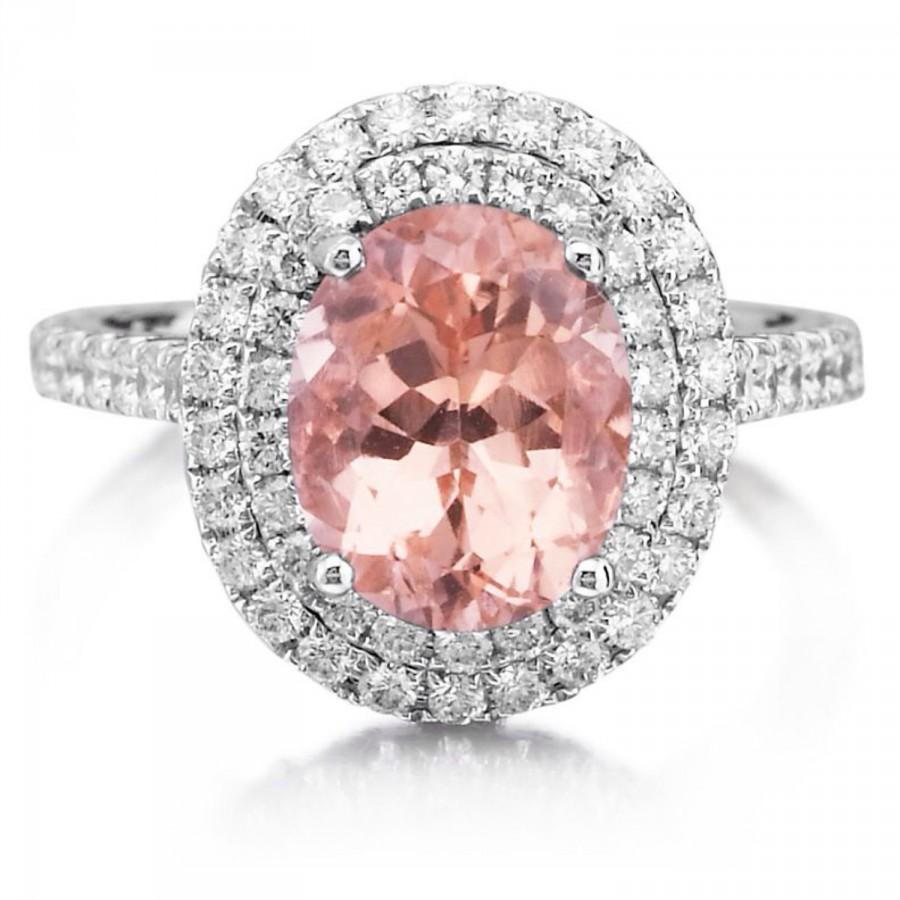 Morganite Engagment Ring With Diamonds 3.20tw 18kt White Gold Double ...