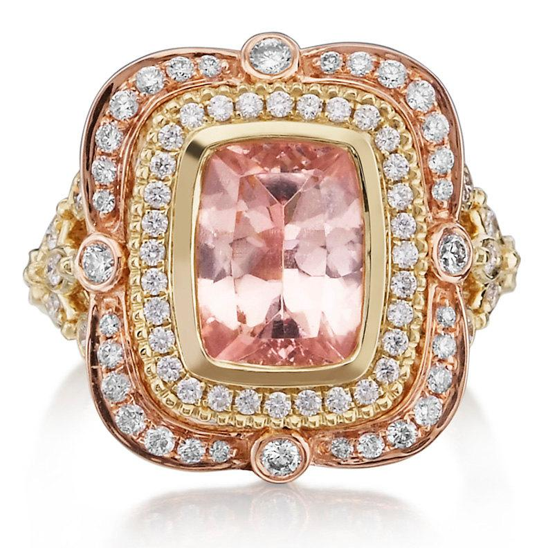 0c27a62330795 Morganite Engagement Ring 18kt Pink & Yellow Gold Long Cushion Cut ...