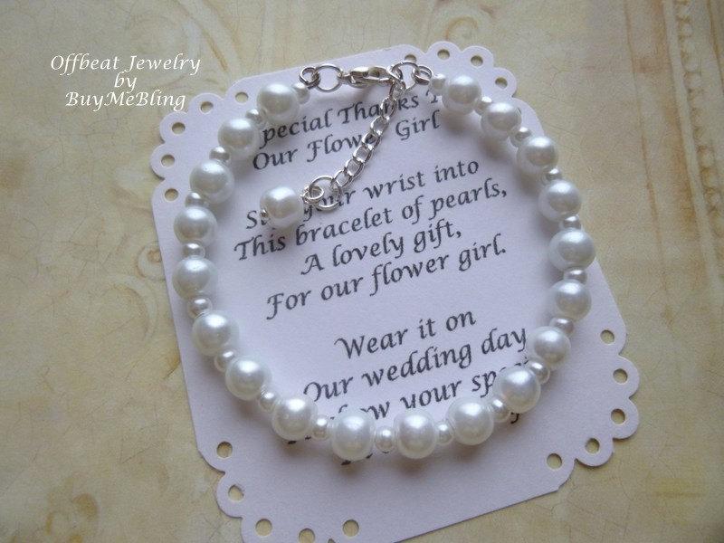 زفاف - Pearl Flower Girl Bracelet, Pearl Bracelet, Flower Girl Gift, Communion Bracelet, Girls Pearl Bracelet, Flower Girl Jewelry, Bridesmaid Gift