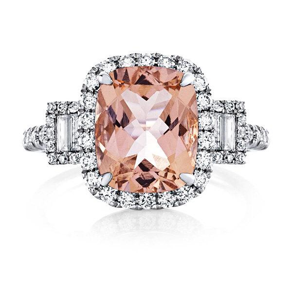 Mariage - Morganite Engagement Ring 14kt White Gold 3.60tw MORGANITE and Diamond Halo Engagement Ring Wedding Ring Anniversary Ring
