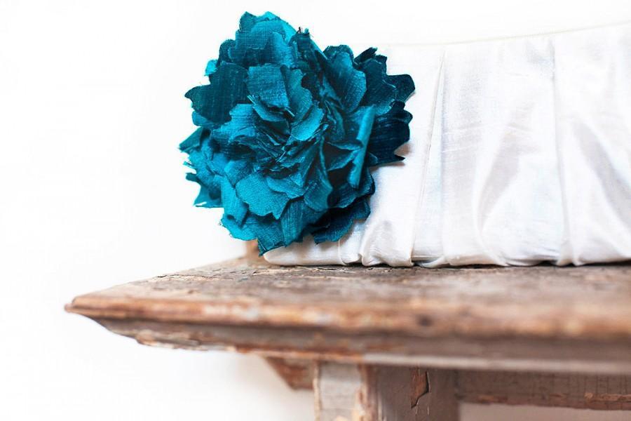 Mariage - Peacock blue silk personalized bridesmaid clutch, Ivory wedding clutch