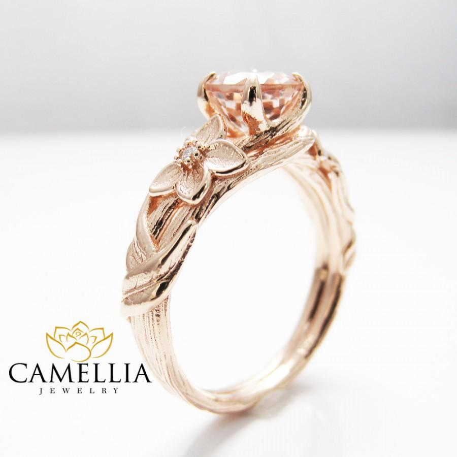 Nature Inspired Rose Gold Engagement Ring Branch Ring 14K Rose Gold Morganite