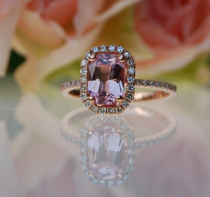 Hochzeit - 1.98ct emerald cut Peach sapphire Champagne sapphire ring diamond ring 14k rose gold Engagement ring