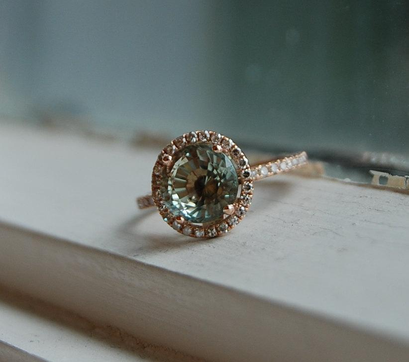Hochzeit - Aquamarine engagement ring rose gold 14k. Round green 3.15ct  aquamarine diamond ring
