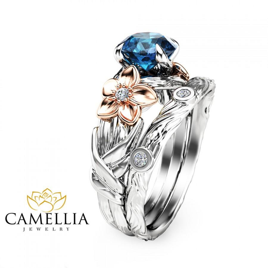 Hochzeit - Branch Engagement Ring in 14K White Gold London Blue Topaz Engagement Ring Rose Gold Flower Rings
