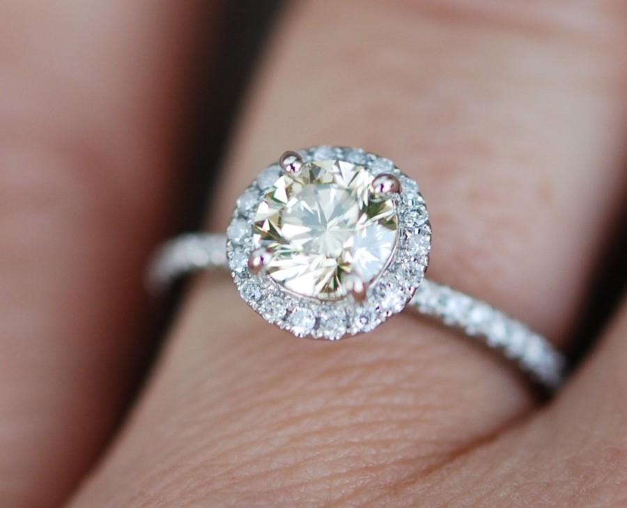 Hochzeit - Yellow diamond engagement rings white gold 0.71ct VVS2 natural light Jasmine yellow diamond ring. Engagement rings by Eidelprecious.