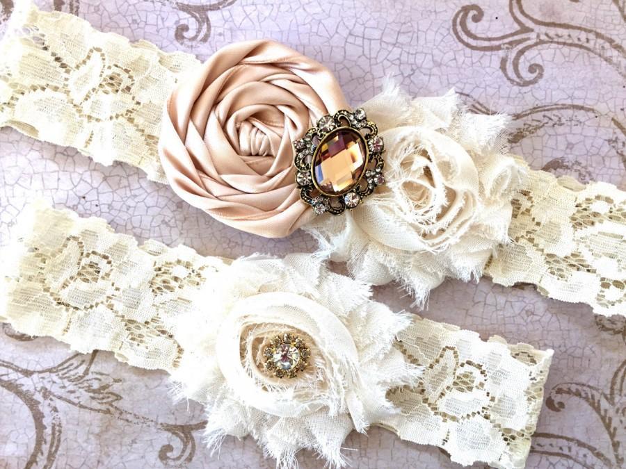 Wedding - Blush Bridal Garter, Wedding Garter, Vintage Garter SET, Garter, Toss Garter