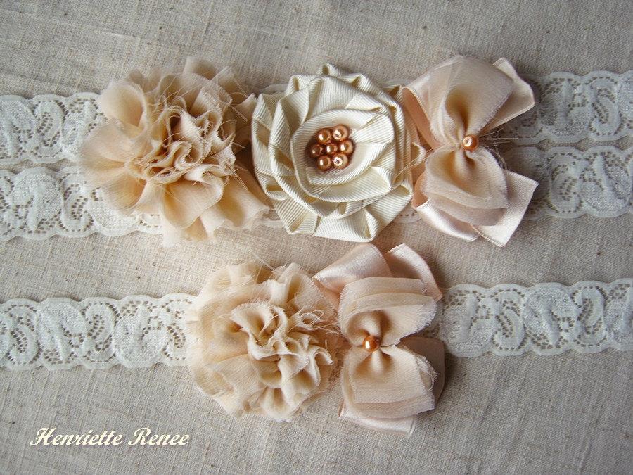 Wedding - Creme Wedding Garter , Ivory Rustic Garter, Pearls Garter, Ivory Garter Satin garter Rustic Bridal Garter Chiffon Garter