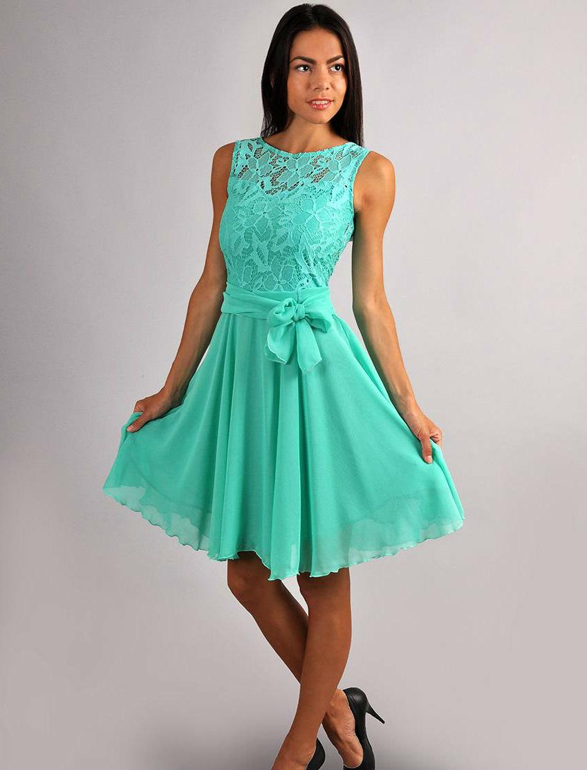 Aqua Mint Lace Top Dress Party Flared Gown