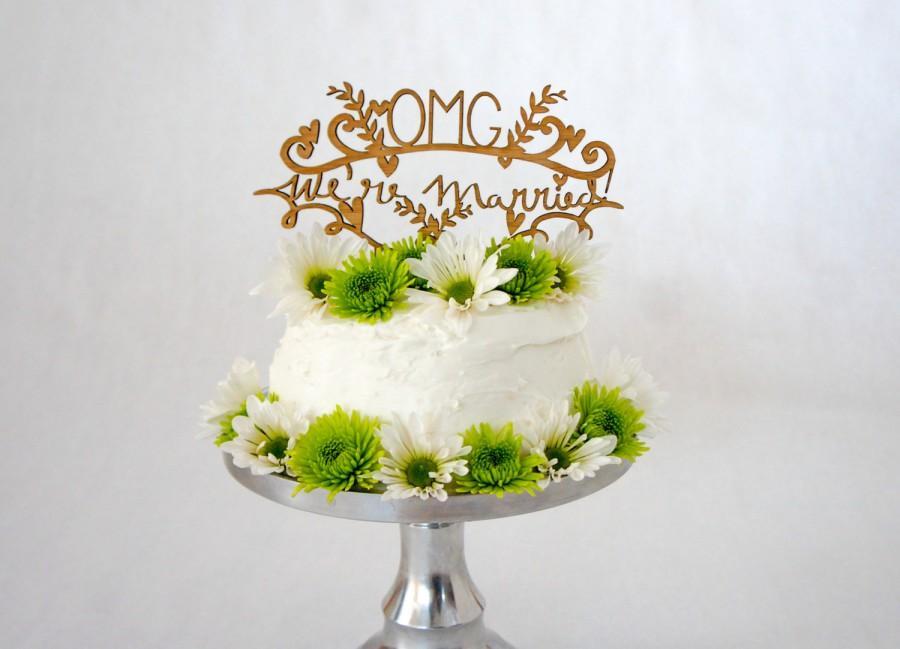Свадьба - Laser-Cut Bamboo Wedding Cake Topper - OMG We're Married