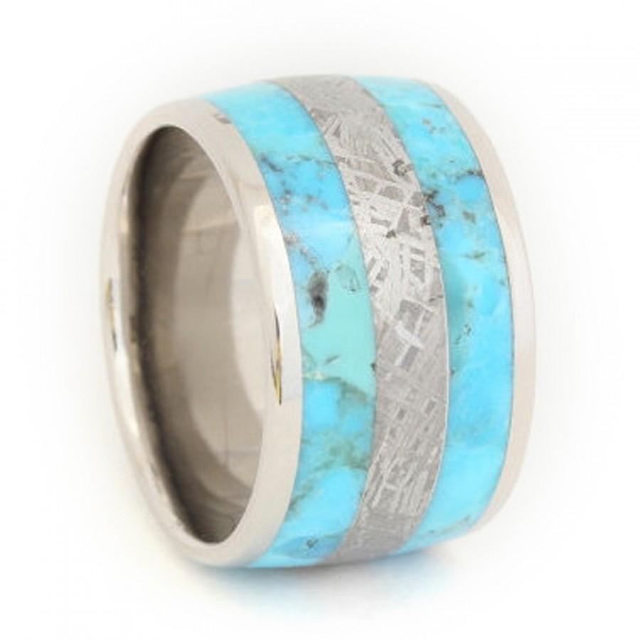 Свадьба - Titanium Wedding Band, Anniversary Ring or Custom Wedding Ring Striped Turquoise and Meteorite Ring