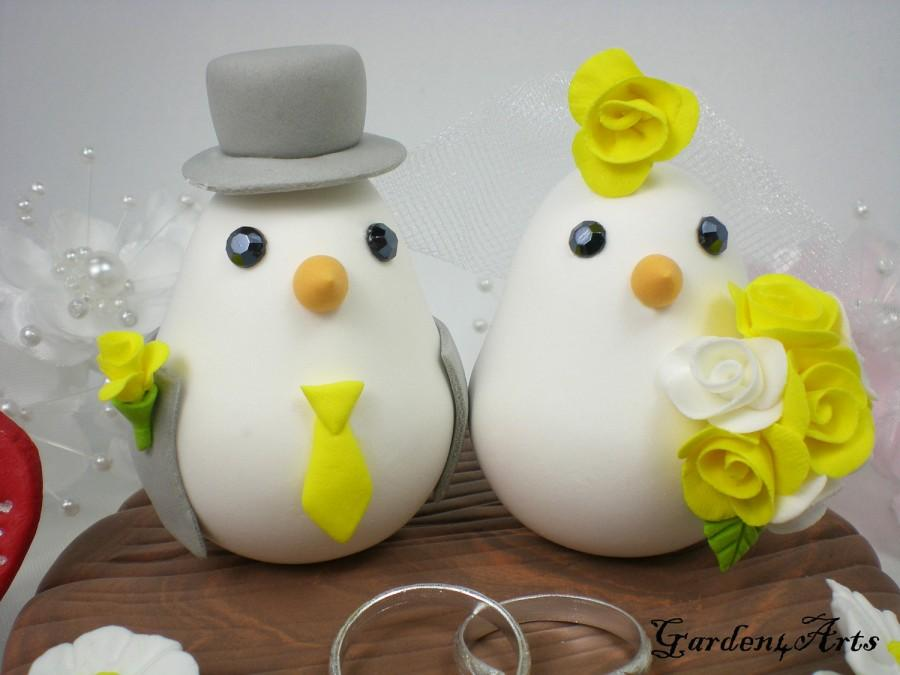 Wedding - Wedding Cake Topper--Love Birds with Clay Base and Rings (Choice of Color)--Custom Order for Ring Pillow -- NEW
