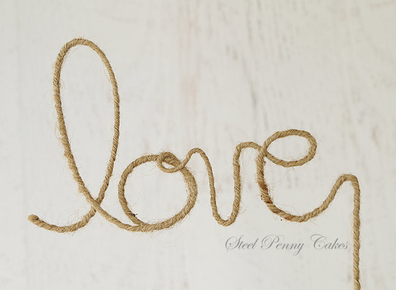 """Свадьба - Rustic Wire Wedding Cake Topper """"Love"""" (Ready to ship!)"""