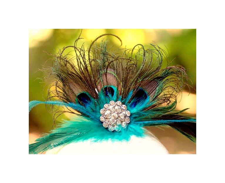 Свадьба - Statement Teal & Peacock Fan Fascinator COMB. Couture Bride Bridal Bridesmaid, Sophisticated Wedding Birthday Gift, Coque Iridescent Feather