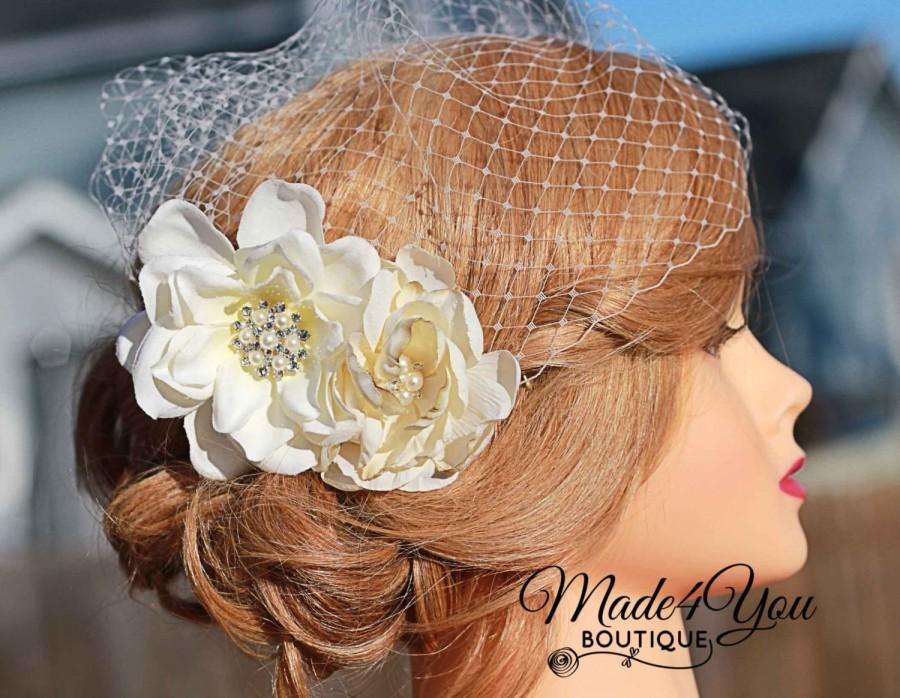 Свадьба - Cream Flower Birdcage Veil- IvoryWedding Headpiece- Wedding Veil