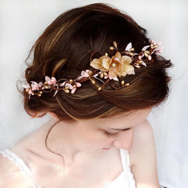 Bridal Headband Pink And Gold Wedding Hair Accessories Flower Headpiece Fl Crown Pieces Blush