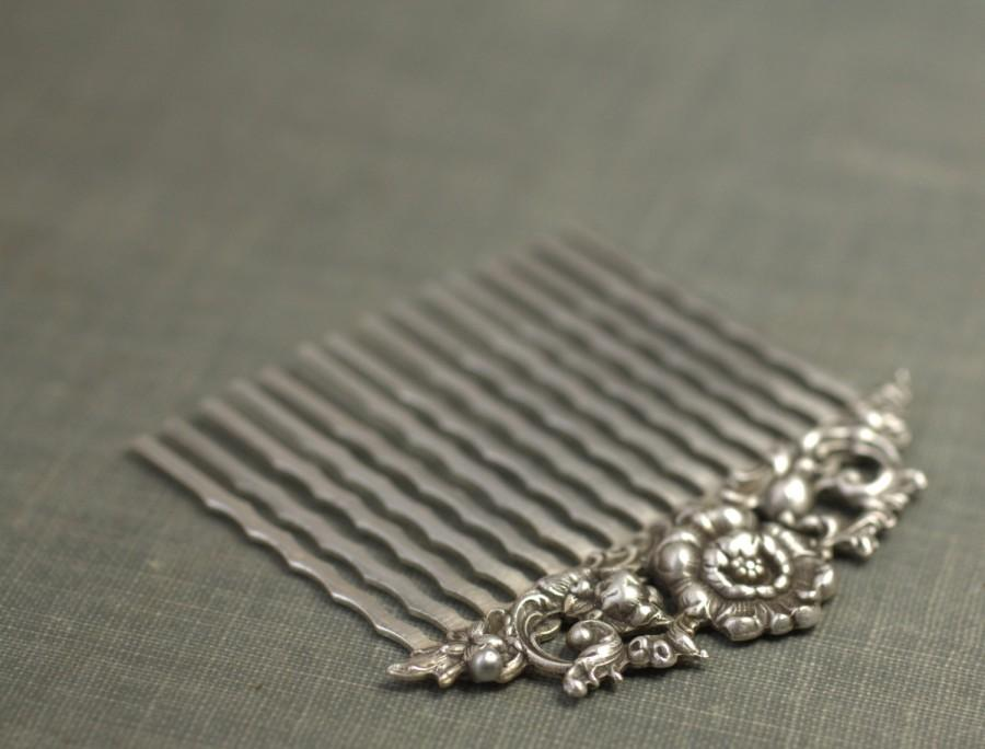 Свадьба - Bridal hair comb antique silver floral elegant vintage style wedding hair accessory art nouveau