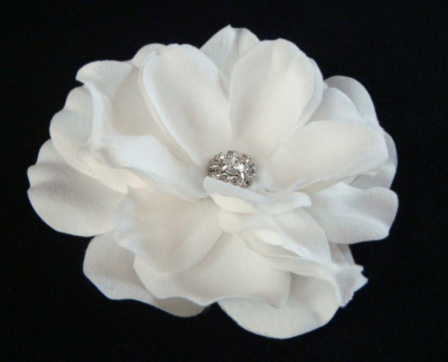 Bridal white flower with rhinestone center petite pure white hair bridal white flower with rhinestone center petite pure white hair flower clip bridal white hair flower mightylinksfo