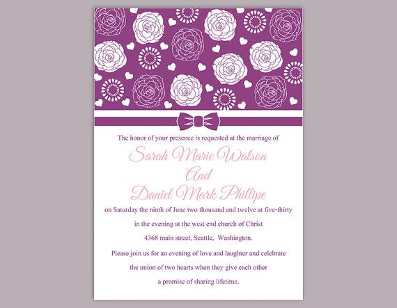 Mariage - DIY Wedding Invitation Template Editable Word File Instant Download Printable Purple Wedding Invitation Floral Rose Wedding Invitation