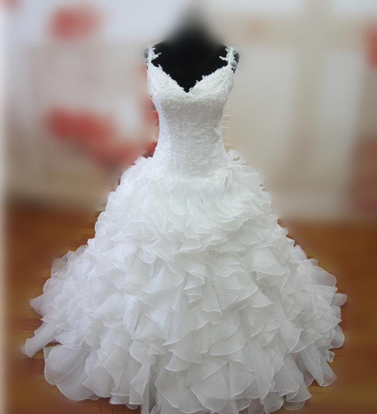 Wedding - Real Samples Ruffled Wedding Dresses Sexy V-neck Spaghetti Bridal Dresses Corset Bridal Gowns Vestido De Novia W029