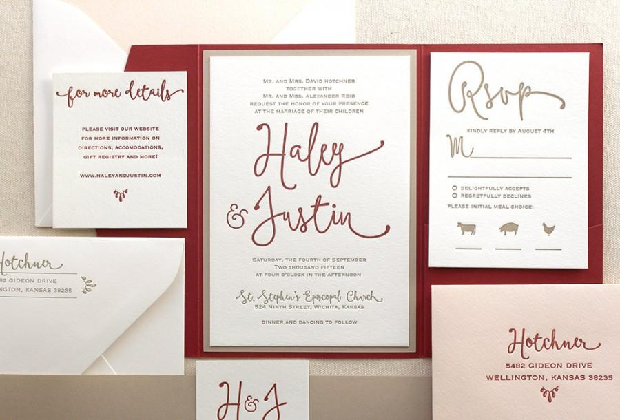 The Thistle Suite, Modern Letterpress Wedding Invitation Suite, Red ...