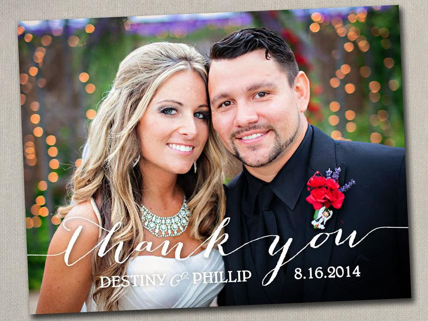 Wedding Thank You Notes Photo Magnets Postcards Cards Modern Elegant Black And White Cream