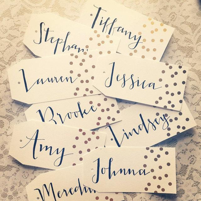 Mariage - Hand Lettered Bridesmaid Hanger Tags for Dresses or Gift Tags