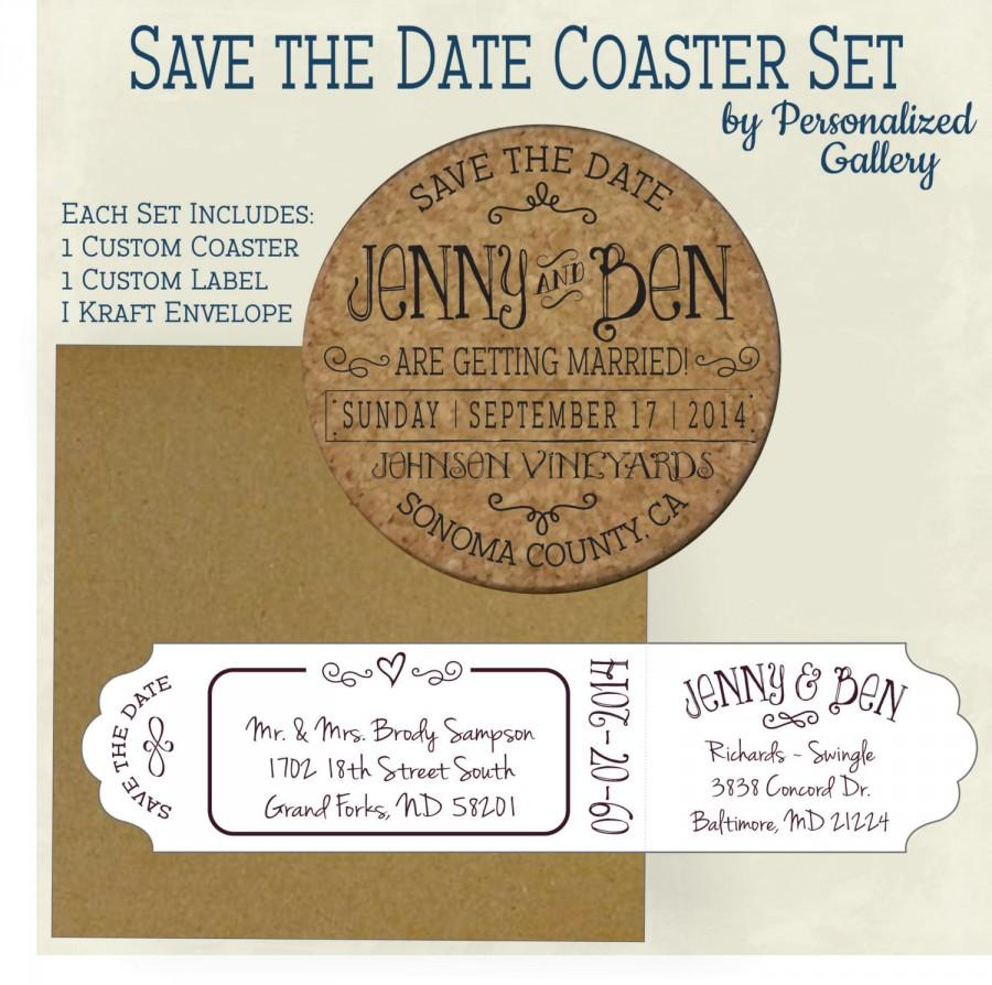 custom save the date invitation cork coasters with envelopes
