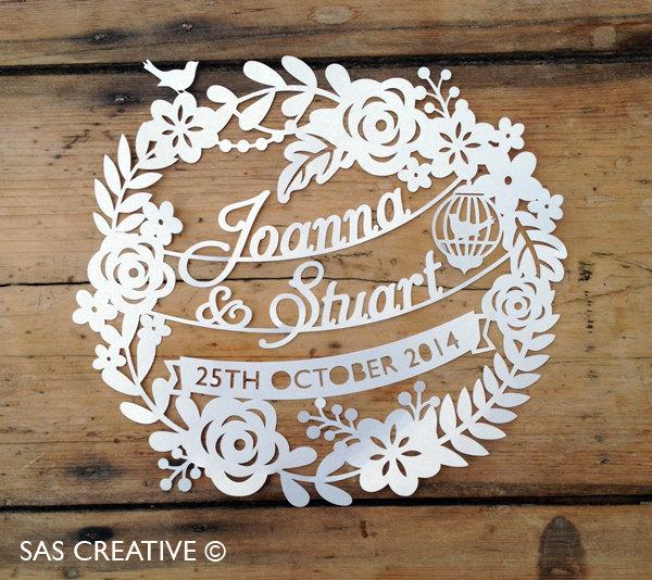 Wedding - 50% Off SALE Silhouette Cameo SVG Wedding Day / Wedding Anniversary Papercutting template design from Samantha's Papercuts