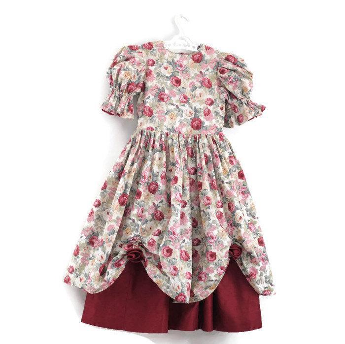 2acb12320afe Vintage Flower Girl Dress, Little Girls Party Dress, Girls Bridesmaid Dress,  1980s Party Dress,