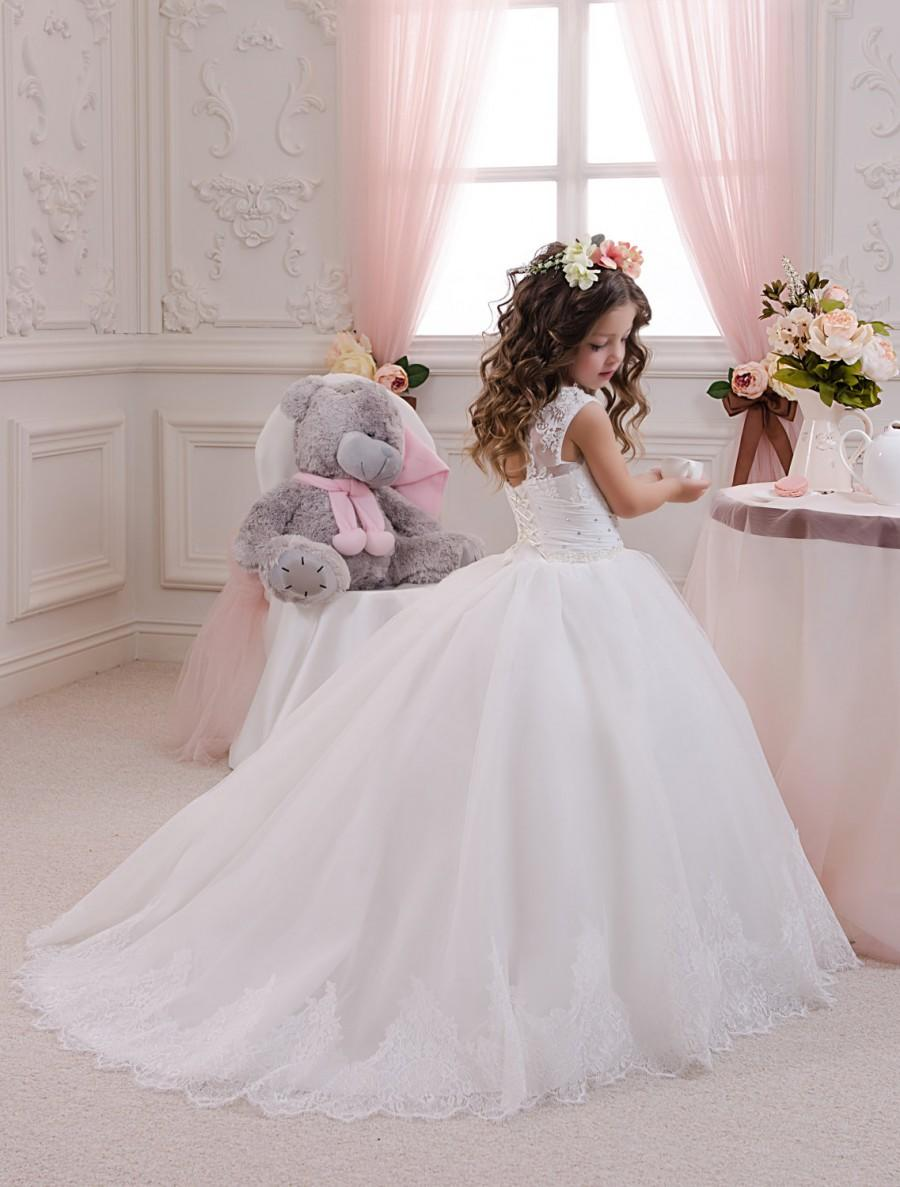 White Tulle Flower Girl Dress With Ivory Wedding Dress Buy Online Usa