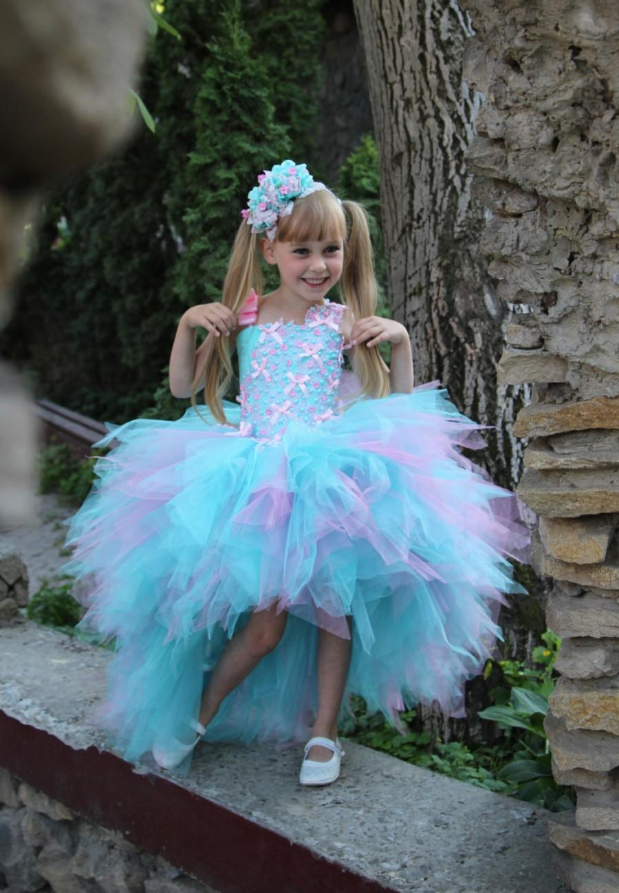 Pink Blue Flower Girl Dress - Birthday Holiday Pink Aqua Blue Lilac ...