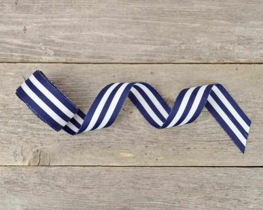 nautical ribbon navy blue and white striped ribbon 5 8 inch 5