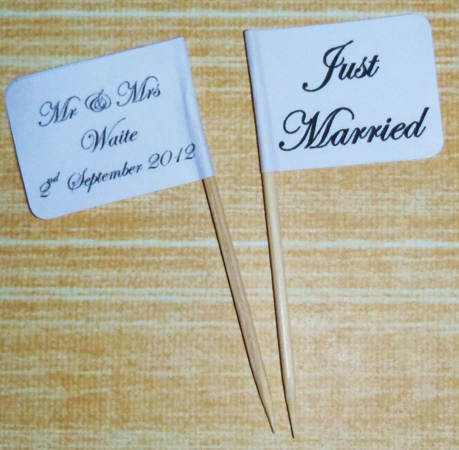 Mariage - 25 x Personalised FANCY Vintage Wedding Cupcake Topper Flags / Picks Cake Decoration