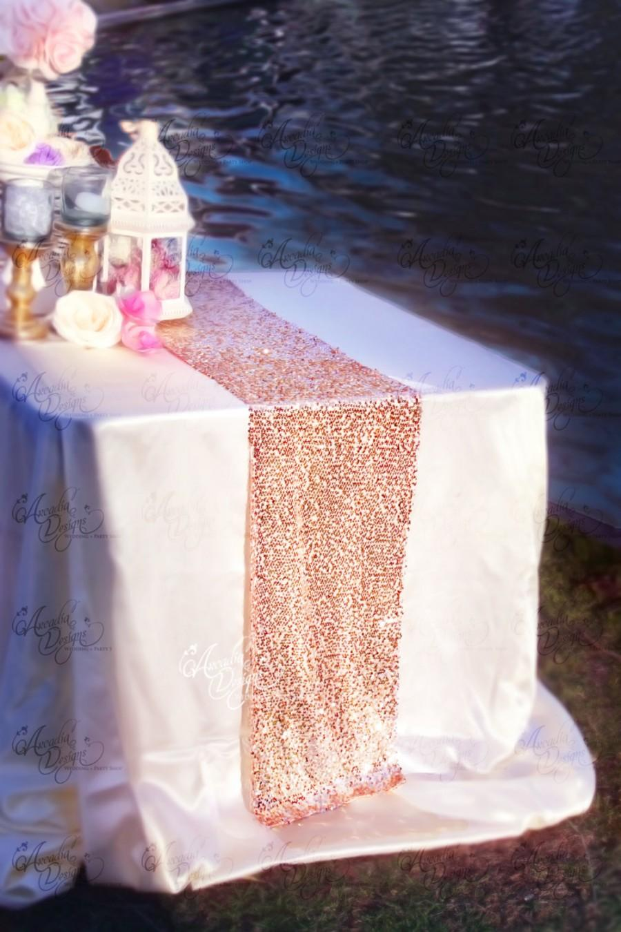 Свадьба - Rose Gold Sequin Table Runner, Glitter Wedding Table Decor, Sparkly Table Linens for Bridal Shower, Engagement Party, Event READY TO SHIP