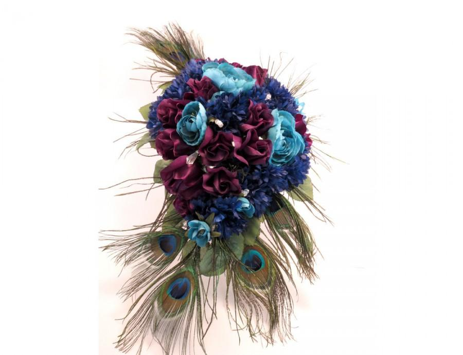Свадьба - Peacock Bouquet Cascading Bridal Made To Order Bouquet