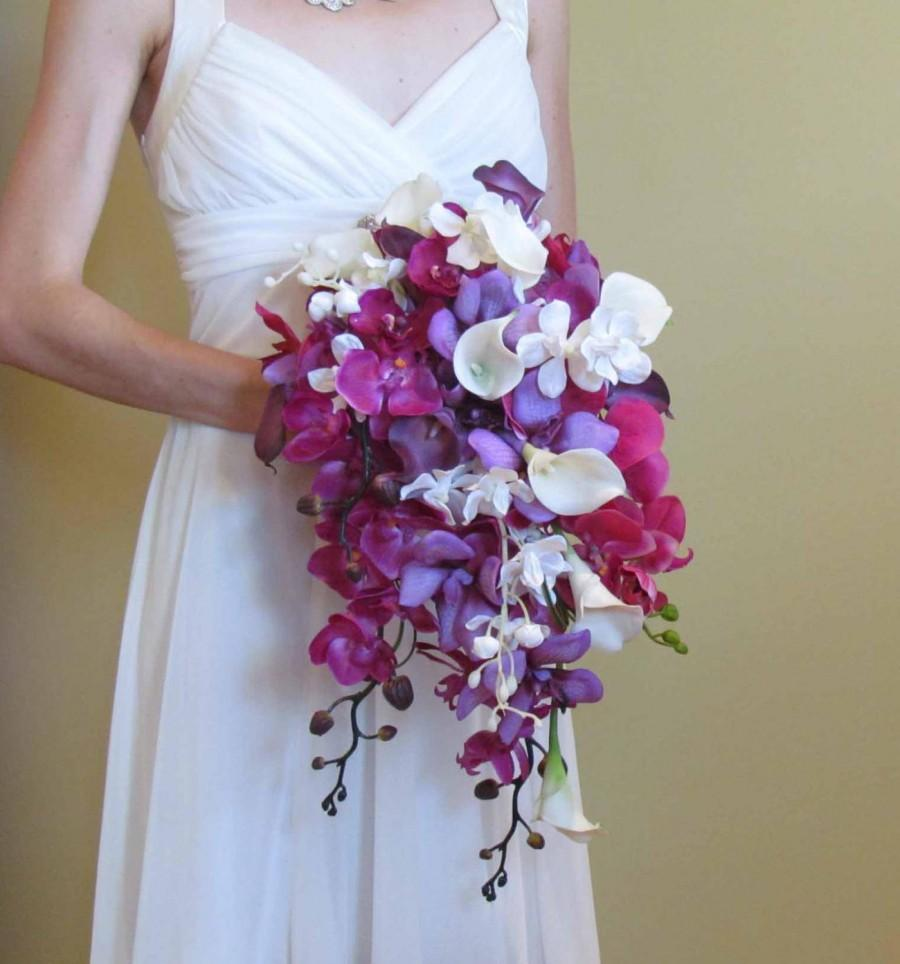 Свадьба - Cascading Purple Orchid & Calla Lily Bouquet for your Beach Wedding, Example Only!! DO NOT PURCHASE
