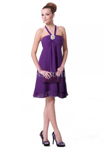 Свадьба - Buy Australia A-line Empire Halter Top Regency Chiffon Knee Length Bridesmaid Dresses 8132203 at AU$120.05 - Dress4Australia.com.au