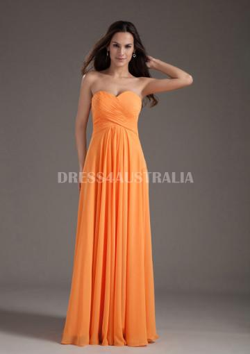83af080421db Buy Australia A-line Ruched Sweetheart Orange Chiffon Floor Length  Bridesmaid Dresses 8132204 at AU$123.42 - Dress4Australia.com.au