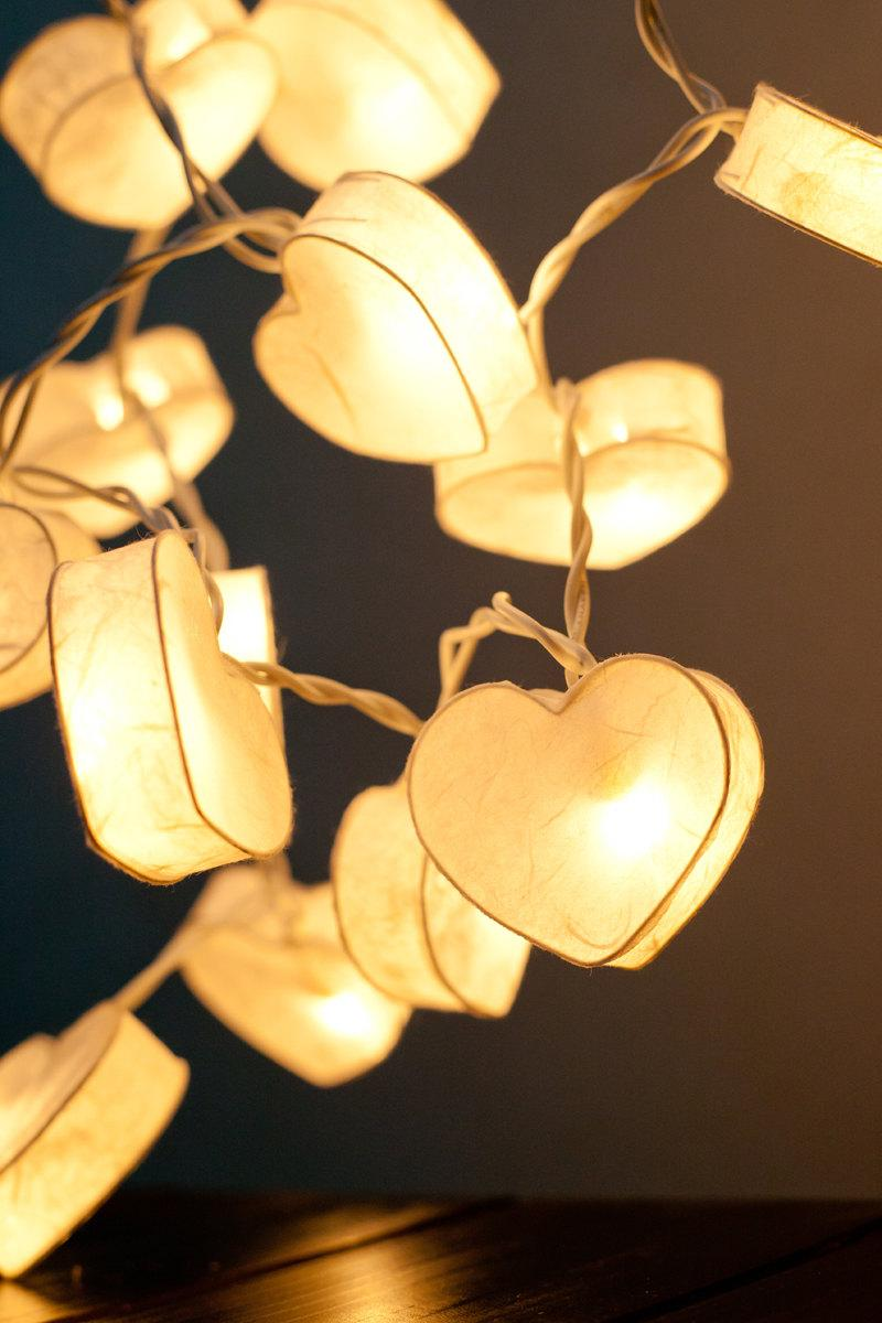 Led String Lights For Paper Lanterns : 20 Battery Powered LED Romantic White Heart Paper Lantern String Lights For Party Wedding And ...