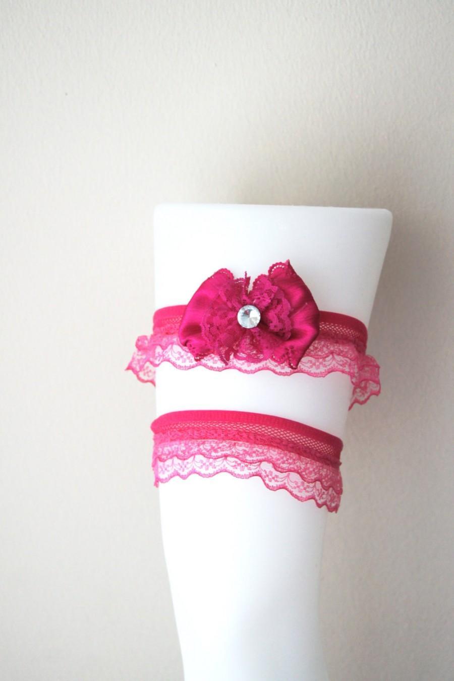 Свадьба - Free ship-LUX Hot Pink Prom Garter, Wedding Garter Set, Wedding Keepsake Bridal Accessories, Hot Pink Lace Garter, Rhinestone Garter Belt