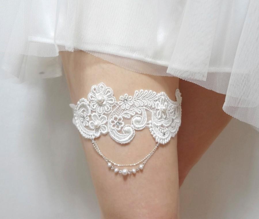 Mariage - Wedding Bridal Garter - Lovely Garter White Lace Applique with Swarovski Pearls