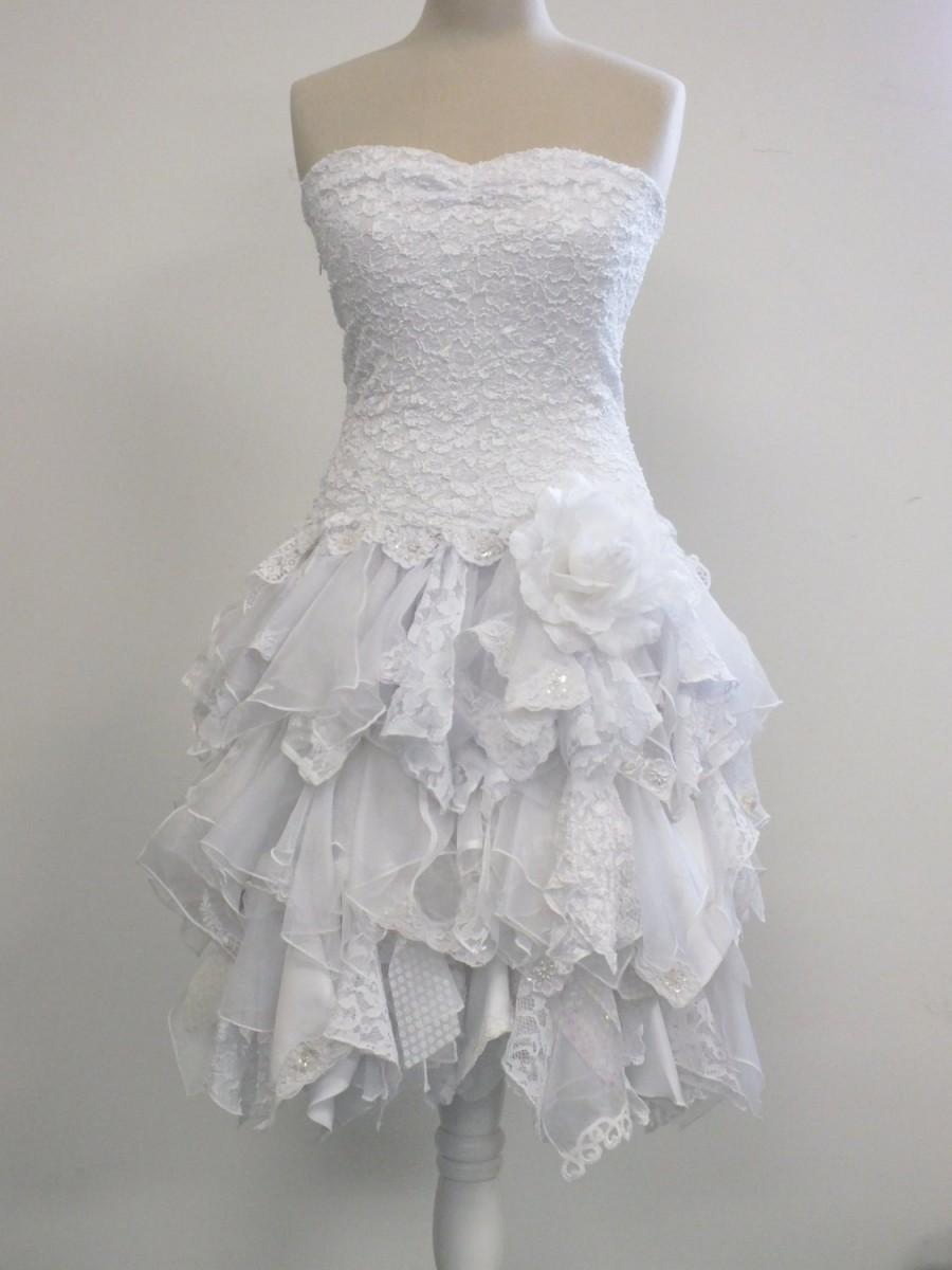 Short wedding dress strapless dress bride gown for Lace drop waist wedding dress