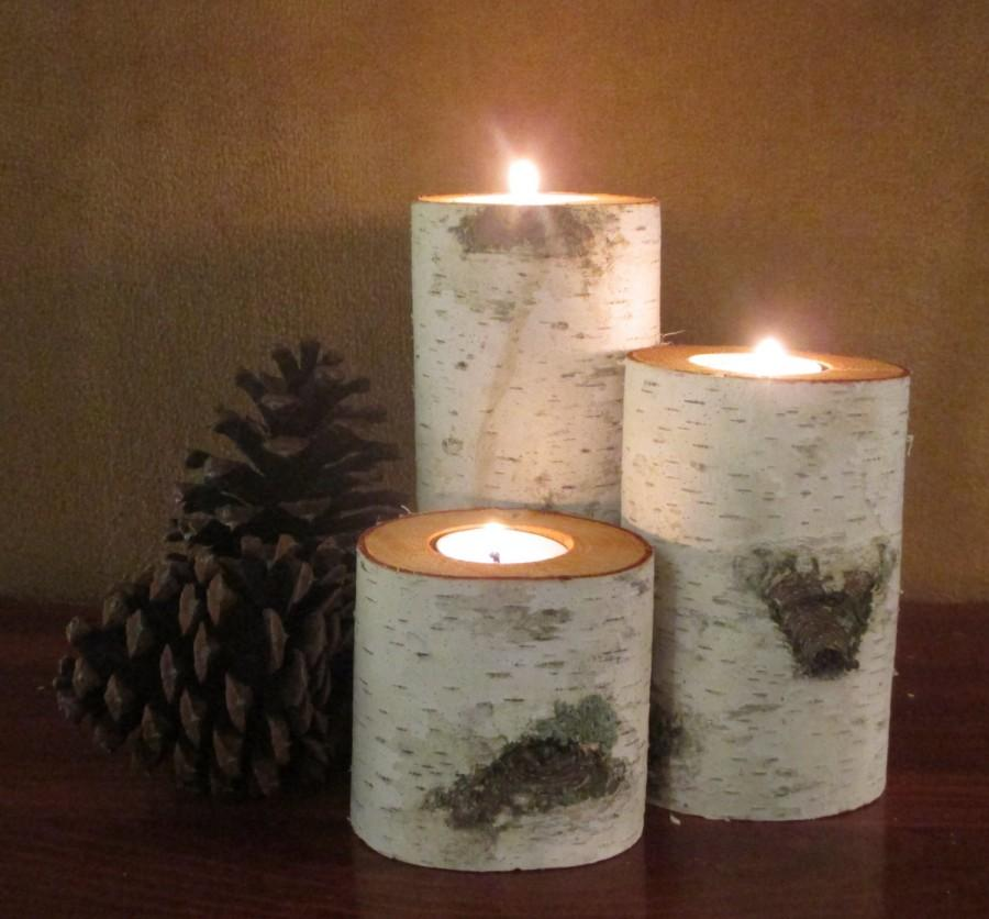Home Decor Birch Wood Candle Holders Wedding Reception Centerpieces Bridal Shower Christmas Holiday Interior Design