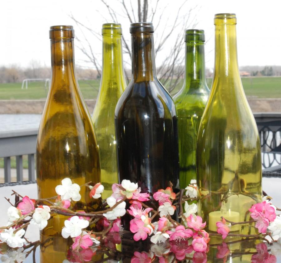 Wedding - Set of 5 Hand Cut Wine Bottle Hurricane Candles- Perfect for a Spring/ Summer Wedding