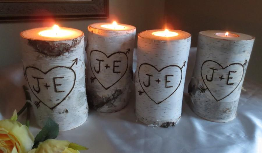 "Mariage - 10 Personalized Birch Bark Candle Holders 4"" Tall  Wedding Decor  Bridal Showers Wedding Centerpiece"