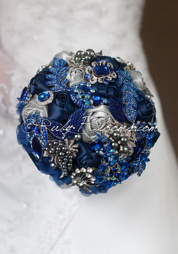 Silver Grey Royal Blue Wedding Brooch Bouquet Navy Jewelry Bridal Broach By Ruby Blooms