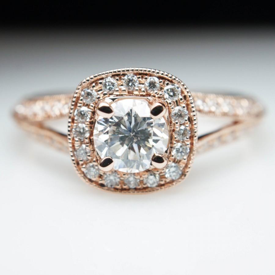 Rose Gold Cushion Halo Diamond Engagement Ring Vintage Style Split Shank Round Bridal